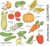 assorted vegetable vector... | Shutterstock .eps vector #128243900