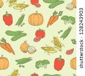 assorted vegetables seamless... | Shutterstock .eps vector #128243903