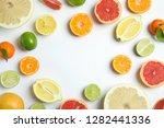 different citrus fruits on... | Shutterstock . vector #1282441336