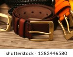 collection of leather belts on... | Shutterstock . vector #1282446580