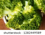 cooked green broccoli with ... | Shutterstock . vector #1282449589