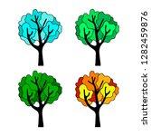 tree silhouette in four seasons ... | Shutterstock .eps vector #1282459876