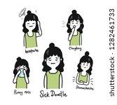 sick doodle  sick characters... | Shutterstock .eps vector #1282461733