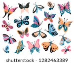 Stock vector hand drawn butterfly flower butterflies moth wings and spring colorful flying insect drawing 1282463389