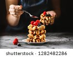 belgian waffles for breakfast....   Shutterstock . vector #1282482286