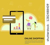 online shopping concept. one... | Shutterstock .eps vector #1282488409
