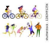 doing exercises and playing... | Shutterstock .eps vector #1282491256