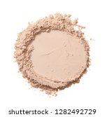 Small photo of Texture of pearl white eye shadow isolated on white background. Macro texture of broken white powder