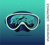 diving mask with scuba diver on ... | Shutterstock .eps vector #1282496413