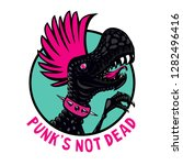 punk dinosaur with pink haircut.... | Shutterstock .eps vector #1282496416