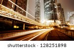 traffic city night  at hongkong ... | Shutterstock . vector #128251898