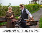 1940s delivery man and house... | Shutterstock . vector #1282542793