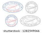 air mail postmarks. colored set ... | Shutterstock . vector #1282549066