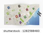 road map isolated on white... | Shutterstock . vector #1282588483
