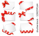 set of beautiful cards with red ... | Shutterstock . vector #128259164