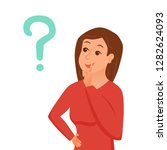 thinking woman with question... | Shutterstock .eps vector #1282624093
