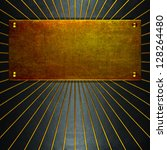 gold metal plate grunge old... | Shutterstock . vector #128264480