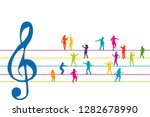 colorful stave with sol clef... | Shutterstock .eps vector #1282678990
