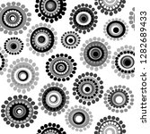 black and white doodle floral... | Shutterstock .eps vector #1282689433