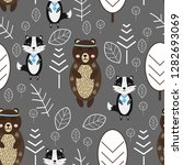 seamless pattern with bear and... | Shutterstock .eps vector #1282693069