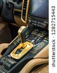 modern luxury car inside.golden ...