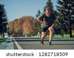 the old runner feeling bad... | Shutterstock . vector #1282718509