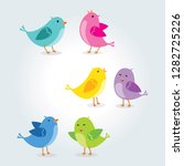 set of birds in different pose. ... | Shutterstock .eps vector #1282725226