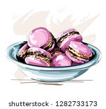 hand drawn cute plate with pink ... | Shutterstock .eps vector #1282733173