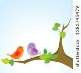 cute birds on tree branch | Shutterstock .eps vector #1282745479