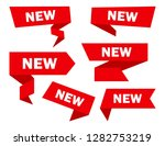 red set of ribbons banners with ... | Shutterstock .eps vector #1282753219