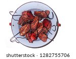 smoked meat isolated on the... | Shutterstock . vector #1282755706
