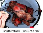 smoked meat isolated on the... | Shutterstock . vector #1282755709
