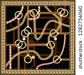 pattern with golden chain and... | Shutterstock .eps vector #1282756060