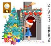 cartoon little girl in red hat...   Shutterstock .eps vector #1282767460