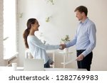 laughing happy woman shaking...   Shutterstock . vector #1282769983
