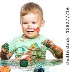 portrait of a cute little boy... | Shutterstock . vector #128277716