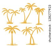 vector palm tree contours... | Shutterstock .eps vector #128277923
