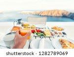 luxury travel resort breakfast... | Shutterstock . vector #1282789069