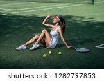 beautiful girl in uniform on... | Shutterstock . vector #1282797853