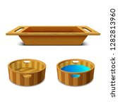 wooden washtub for bathing and... | Shutterstock .eps vector #1282813960