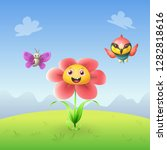 flower butterfly and bee eater... | Shutterstock .eps vector #1282818616