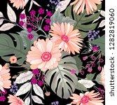 floral seamless pattern. garden ... | Shutterstock .eps vector #1282819060