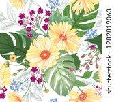 floral seamless pattern. garden ... | Shutterstock .eps vector #1282819063