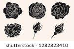 rose silhouette ornament vector ... | Shutterstock .eps vector #1282823410
