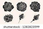 rose silhouette ornament vector ... | Shutterstock .eps vector #1282823599