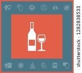 bottle of wine and wineglass... | Shutterstock .eps vector #1282838533