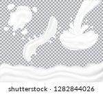 set of realistic milk splash... | Shutterstock .eps vector #1282844026