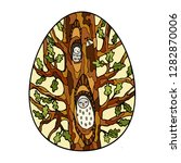 big oak  two owls in a hollows. ... | Shutterstock .eps vector #1282870006