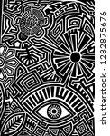 hand drawn black tattoo pattern ... | Shutterstock .eps vector #1282875676
