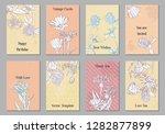 vintage vector floral cards... | Shutterstock .eps vector #1282877899